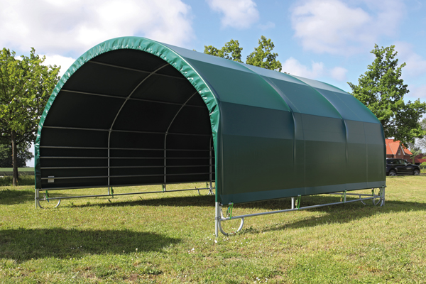 Mobile shelter, mobile cover, green, interior view